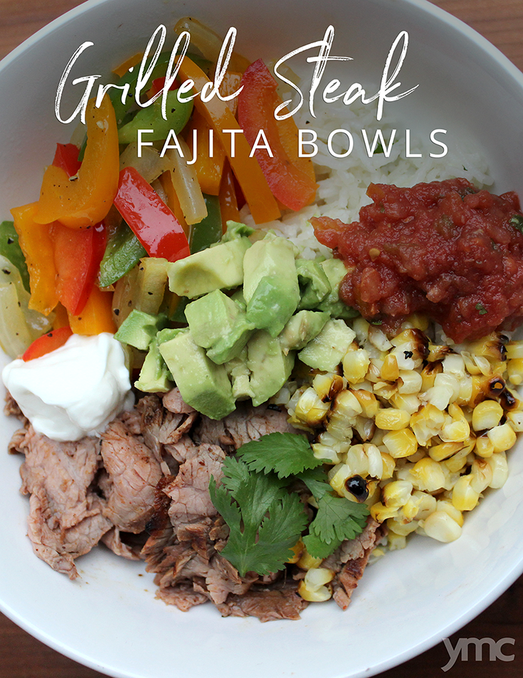 These amazingly delicious, easy fajita bowls are deconstructed, which makes them super kid-friendly. Enjoy your favourite grilled steak fajitas fresh off the BBQ without the mess! | YMC