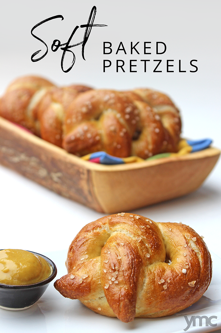 Soft, chewy and delicious, these classic soft baked pretzels are fantastic on their own, and would also make amazing burger or sandwich buns. A great way to introduce your kids to working with yeast! | YMC