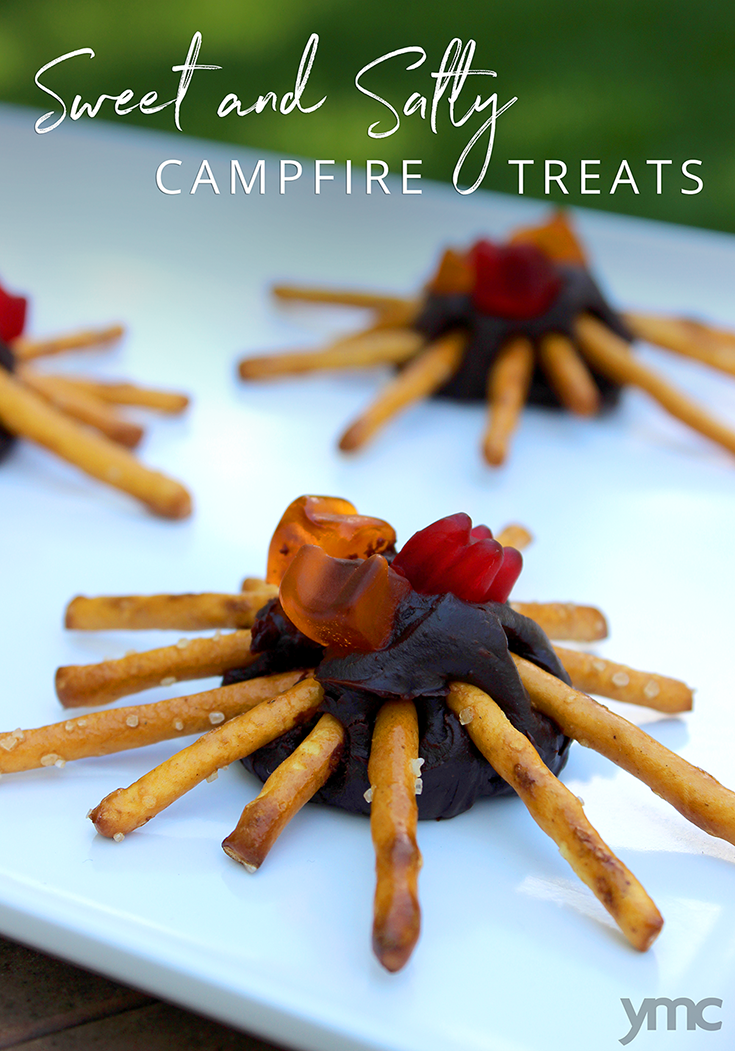 The centre is an easy-to-make microwave fudge, then gummy bears and pretzels form the flames and logs of the campfire. | recipes | YMC