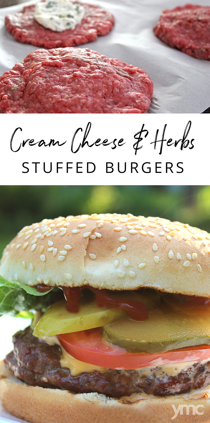 My family loves biting into the burger and tasting the herbed cream cheese in the middle. You can make a big batch of these burgers in advance if you like; they freeze really well. | YMC