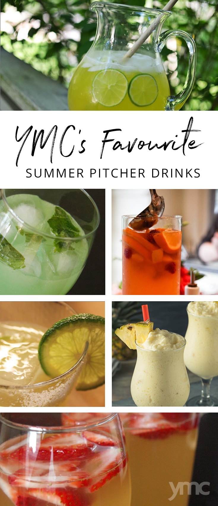 I've come to perfect the pitcher drink, and as my warm weather gift to all of you, I've compiled a list of my top five pitcher drinks in five ingredients or less! | YMC