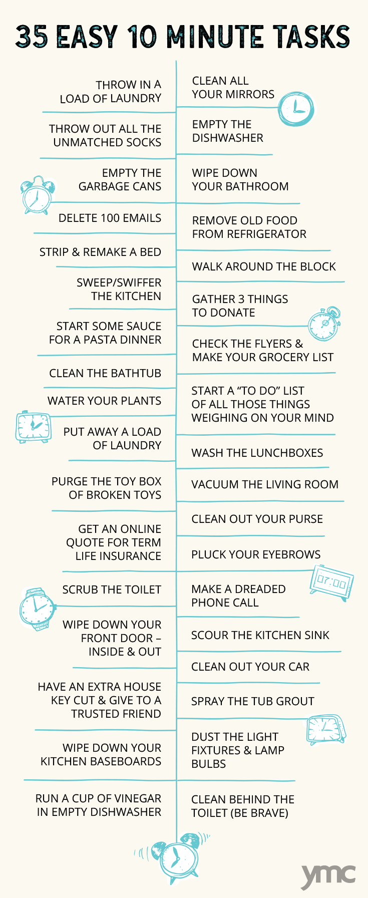 Set a timer, because here's a list of chores you can do in 10-12 minutes: