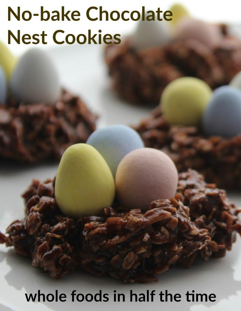 They require just a few moments of stovetop cooking but no oven time, so these No Bake Chocolate Nests are super simple and fast. Whip up a batch in just five minutes; put 'em on a pretty plate and you've got a lovely centrepiece for your Easter table. | YMCFood | YummyMummyClub.ca