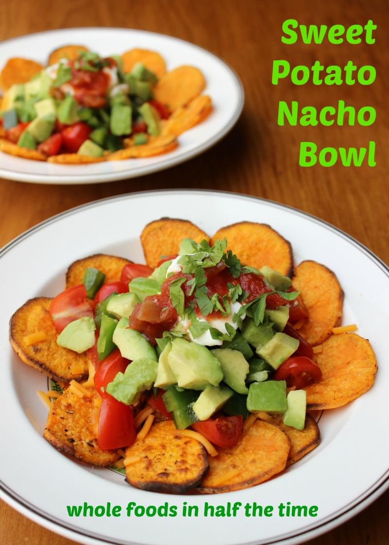 Crispy Sweet Potato Chips are the perfect base for this healthy nacho recipe, making it a great family treat - especially for the upcoming Super Bowl! | YMCFood | YummyMummyClub.ca
