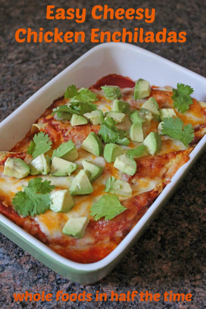 Turn a store-bought rotisserie chicken into this Easy Cheesy Chicken Enchiladas recipe for a tasty Mexican meal for the Super Bowl... or any occasion! | YMC | YummyMummyClub.ca
