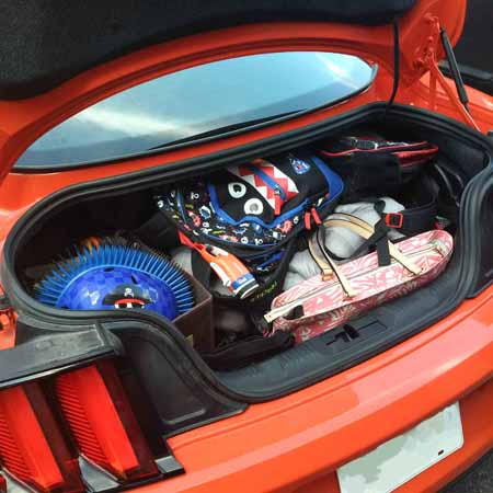 2015 Ford Mustang filled trunk
