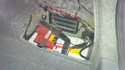 Battery located in trunk