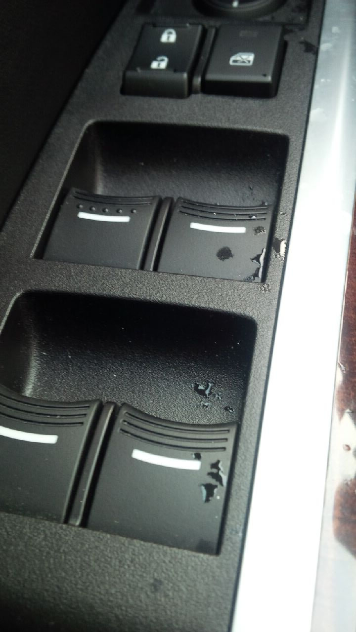Water on power window switch