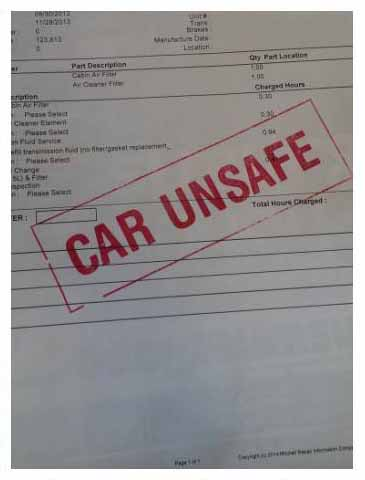 Car unsafe stamp