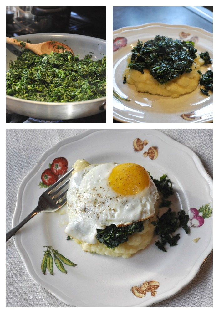 spinach, eggs, potatoes, mashed potatoes, easy dinner, quick meal