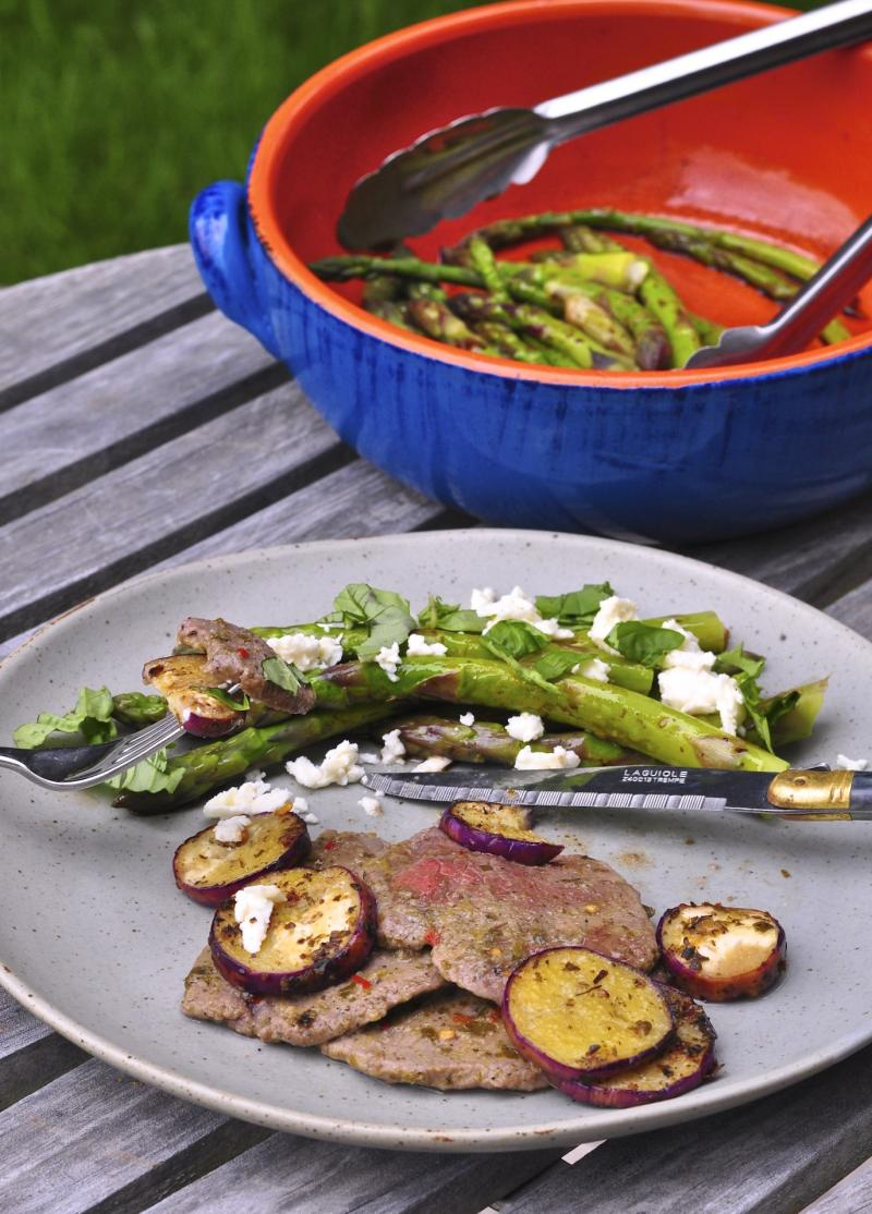 chimichurri, steak, asparagus, feta, eggplant, seasonal vegetables, simple recipe, easy recipe, quick recipe, Around The Table, Katja Wulfers