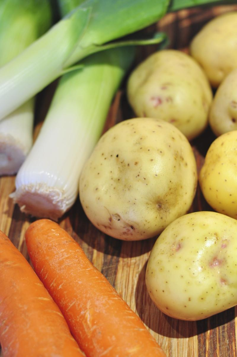 leek recipes, cooking with leeks, leek soup, best potato recipes, potato recipe, potatoes, carrots, carrot soup, potato soup, French recipe, best soup recipes, Around The Table, katja wulfers