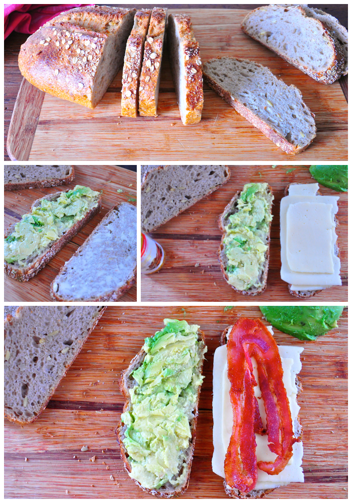 grilled cheese recipe, havarti, multigrain bread, avocado, bacon, delicious, Around The Table, Katja Wulfers