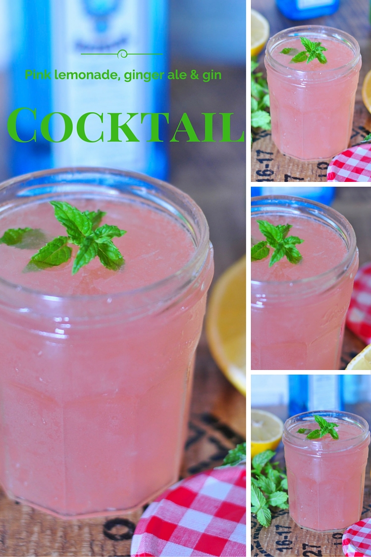 Premixed pink lemonade, ginger ale and gin cocktails in jam jars for your next party