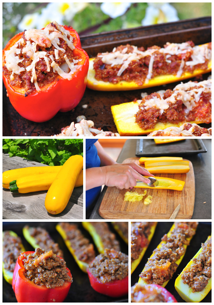 stuffed vegetables, easy summer recipes, beef, quinoa, peppers, zucchini, tomatoes, simple recipes, Around The Table, Katja Wulfers