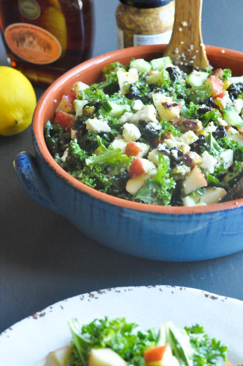Massage those greens for a kale salad with feta and a mustard, maple syrup vinaigrette that people who don't eat kale willingly will actually like.
