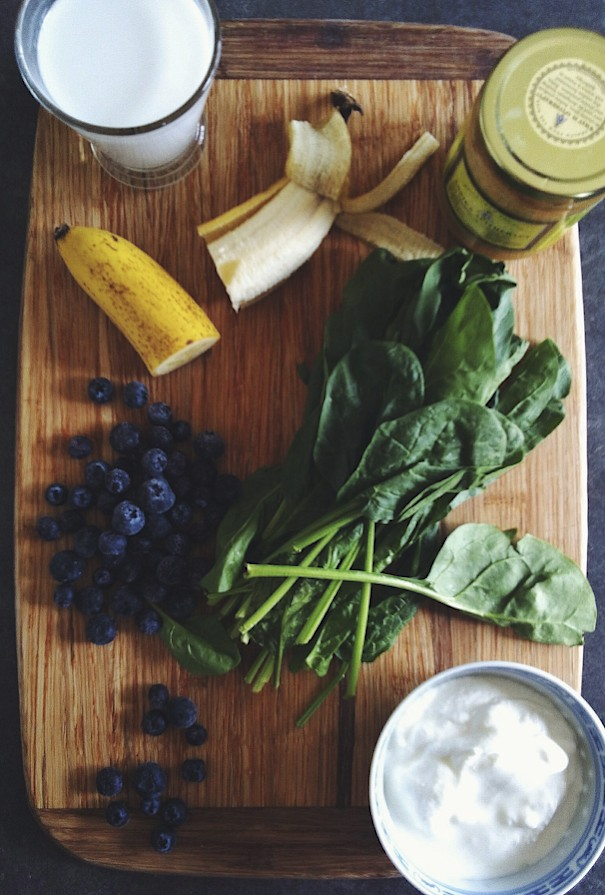 smoothie, banana, spinach, coconut milk, yogurt, honey, blueberries, super fuel, Around The Table