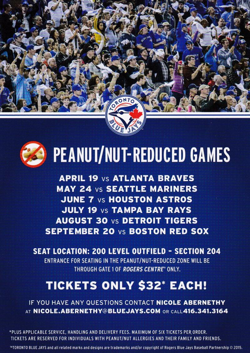 Toronto Blue Jays Peanut/Nut Reduced Zone game schedule