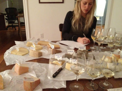 Aurélia while choosing the right cheese to pair with the right wines