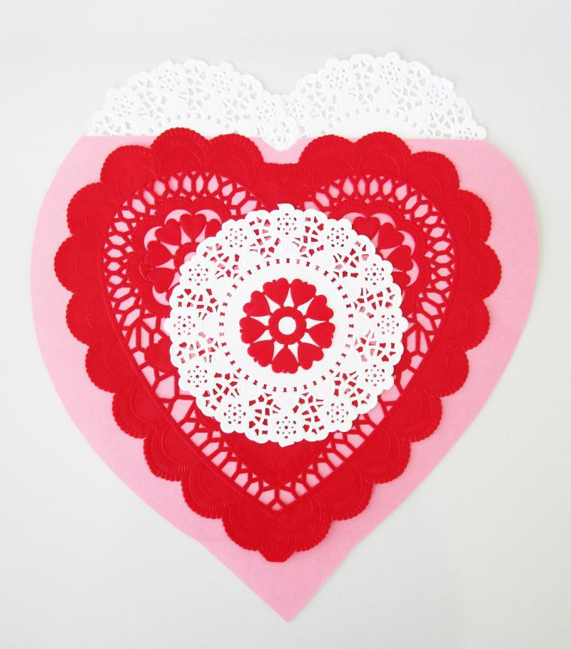 Make vintage Valentines with doilies and hearts.