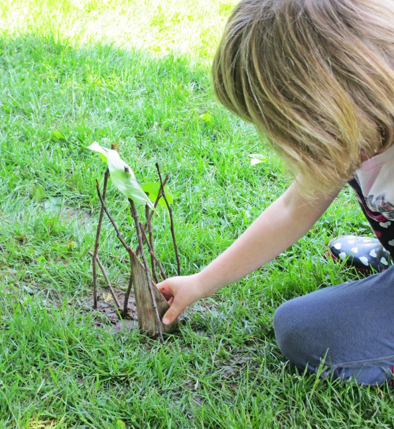 Kids can make nature art with sticks
