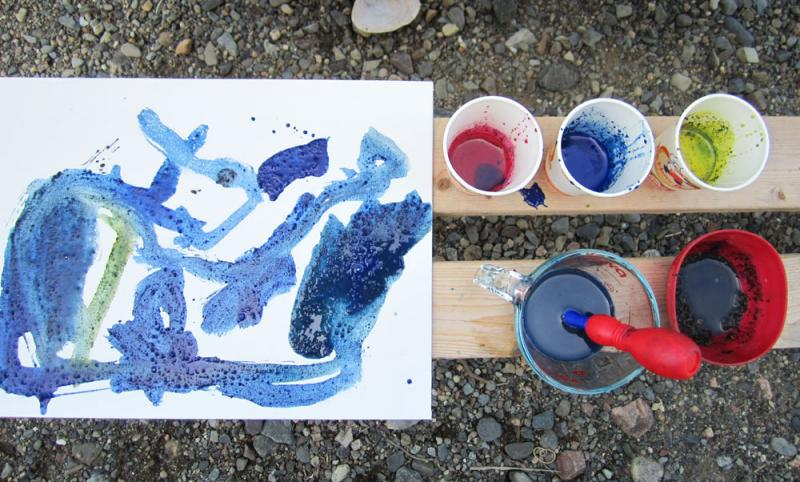 Add paint to dirt and water for a delightfully textured masterpiece.