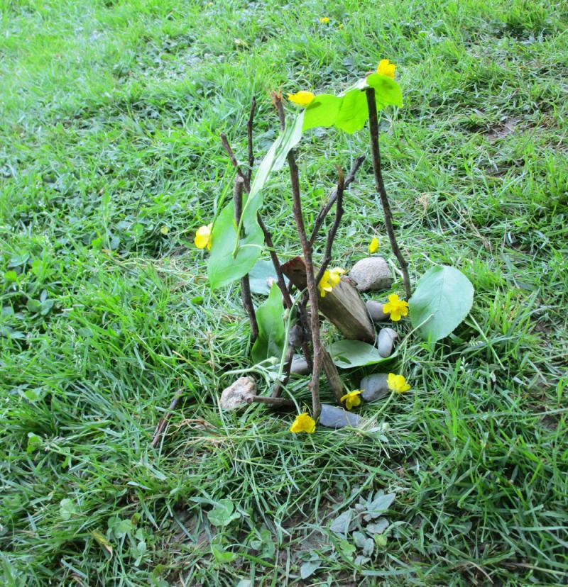 Kids can make nature art with sticks