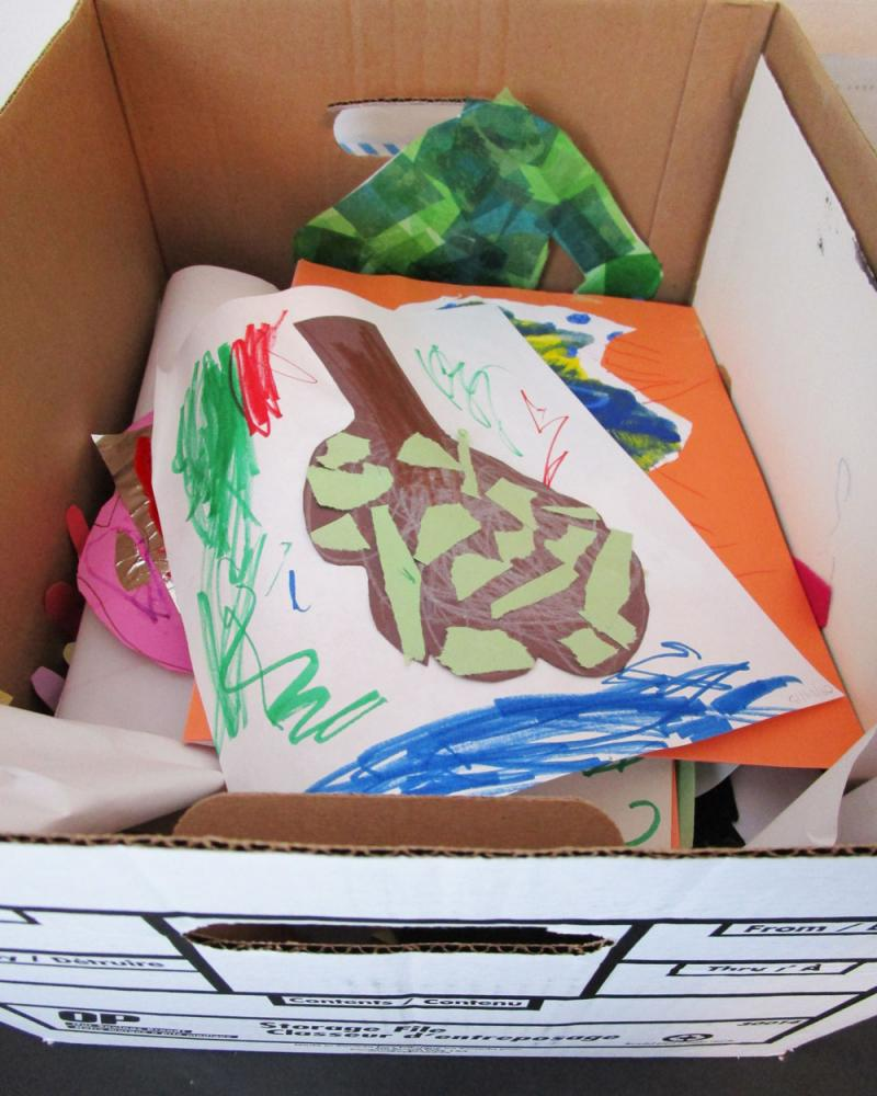 A box full of kids art