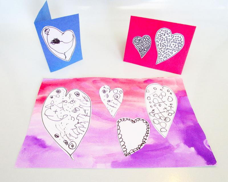 Mixed media Valentine's Day art lesson