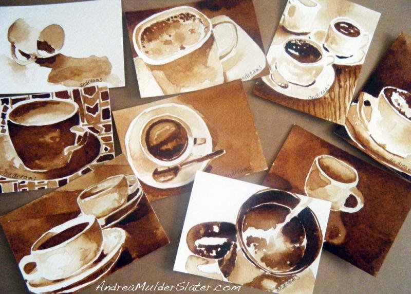 Coffee paintings on artist trading cards by Andrea Mulder-Slater.