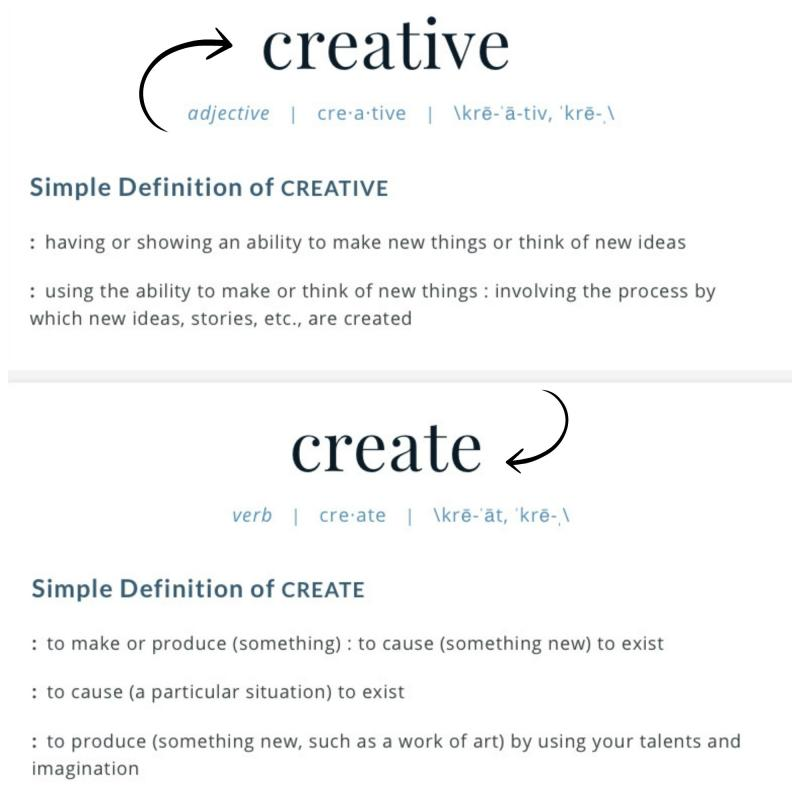 Merriam Webster definition of creative and create.
