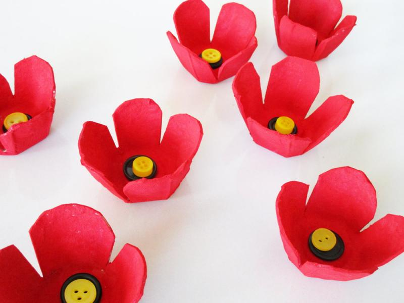 Colourful poppies made of egg carton cups.