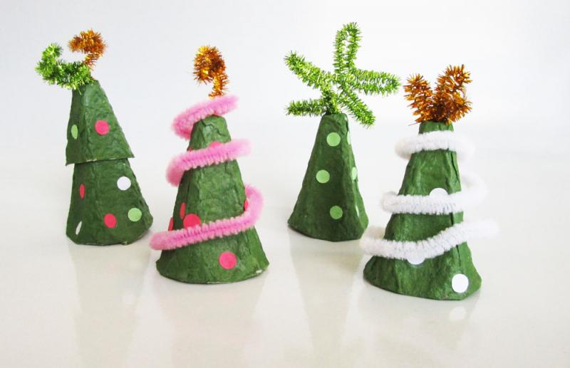 Making egg carton Christmas trees