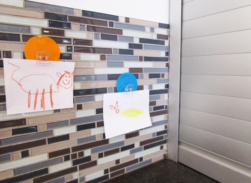 Kids art on tile backsplash using Elmer's Freestyle Stationary Clips