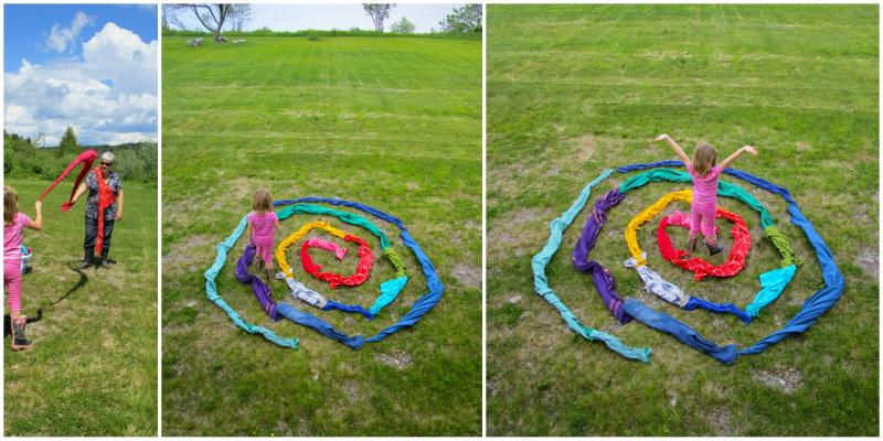 Colourful fabric spiral maze.