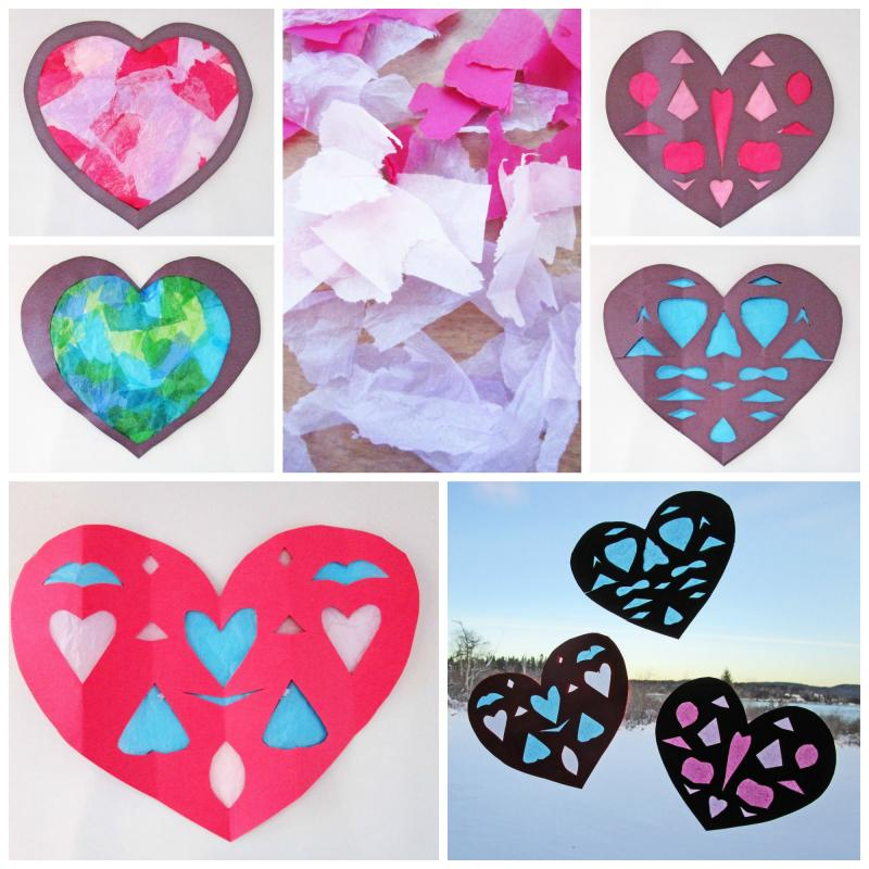 Teach your kids how to make these faux stained-glass paper hearts for decorating your windows on Valentine's Day. | Kid Crafts | YummyMummyClub.ca