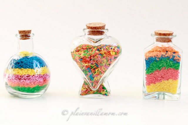 Rainbow rice bottles