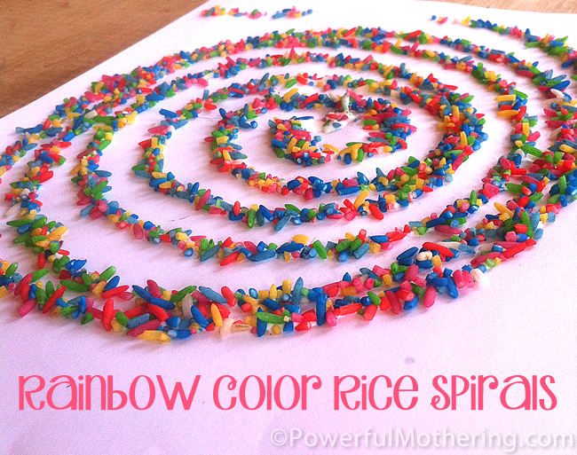 Rainbow rice spiral picture.