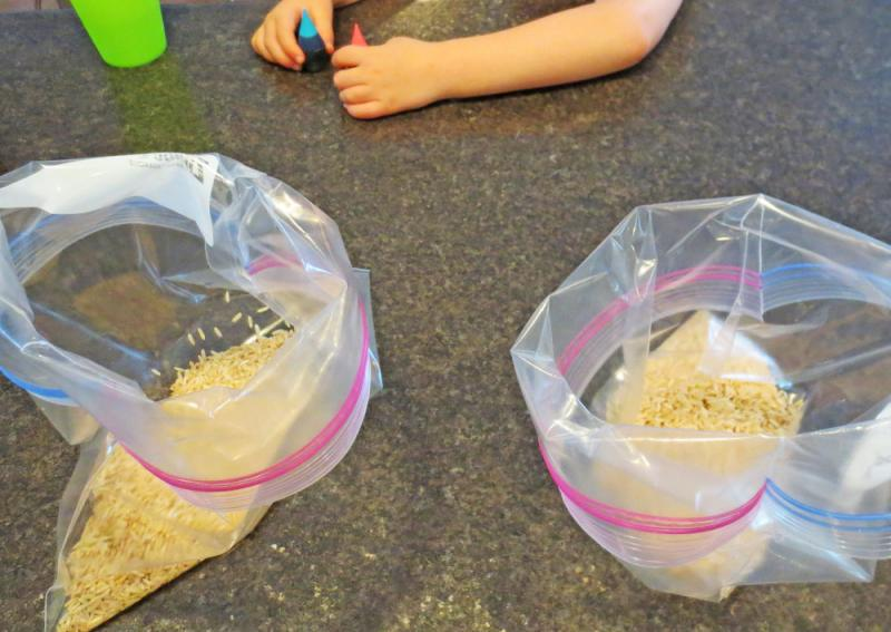 Separate your rice into bags.