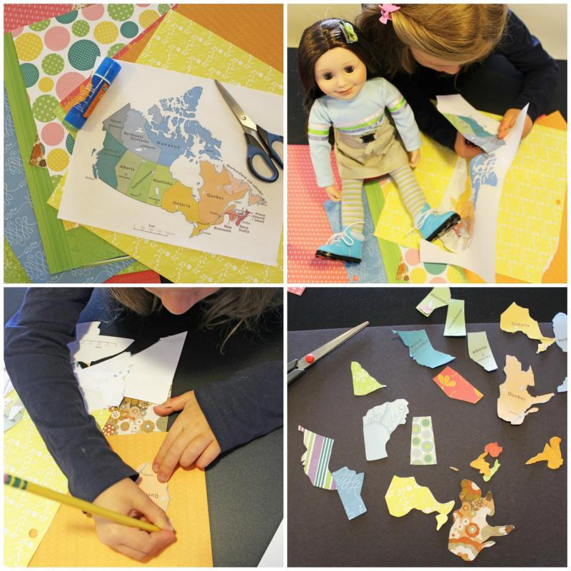 How to make a map of Canada using colourful patterned paper.