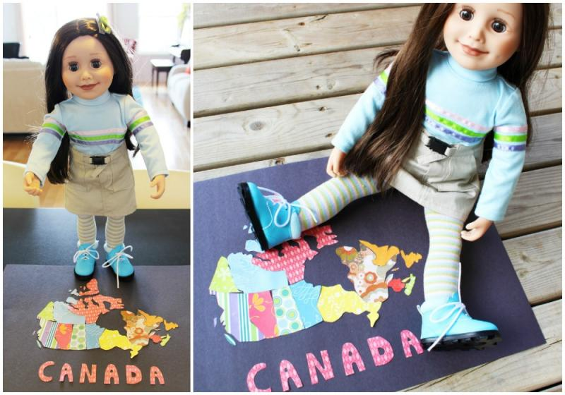 Craft a map of Canada with your Maplelea Girl doll using paper and glue.