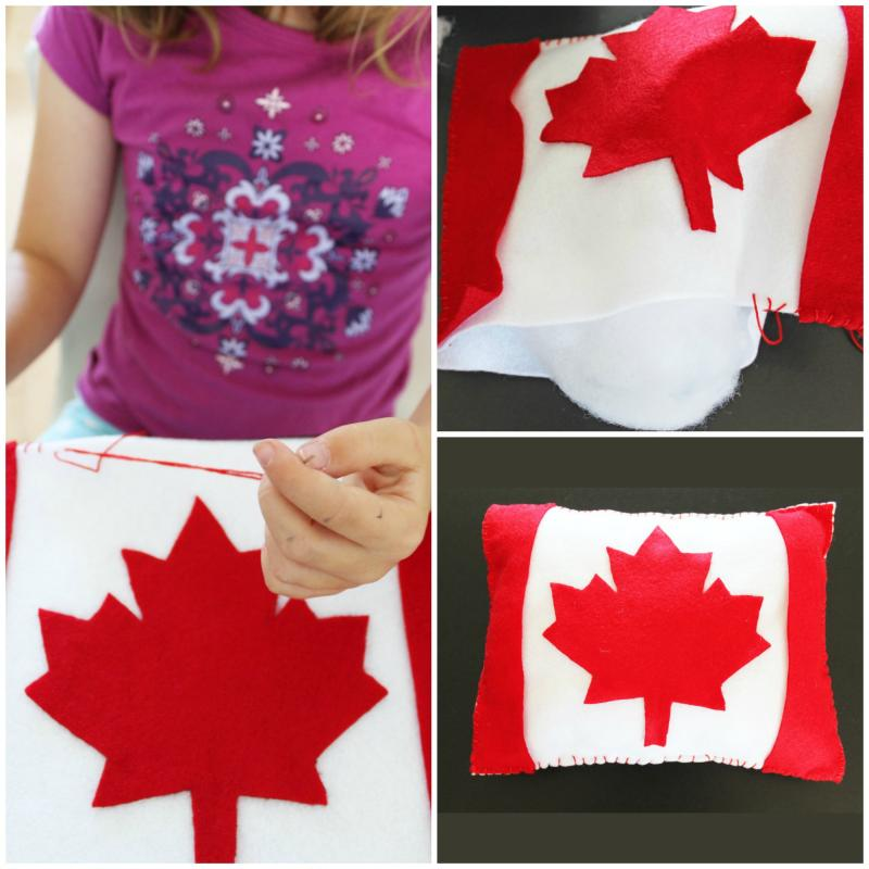 Make Canada flag pillow for your Maplelea dolls.
