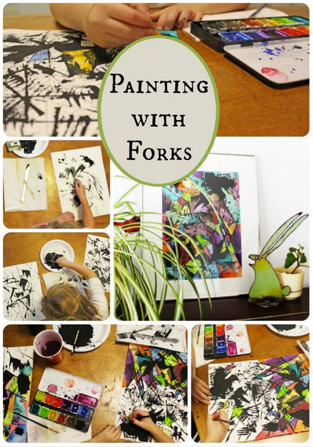 Paint with forks, credit cards, sticks and brushes to make an abstract expresssionist painting.
