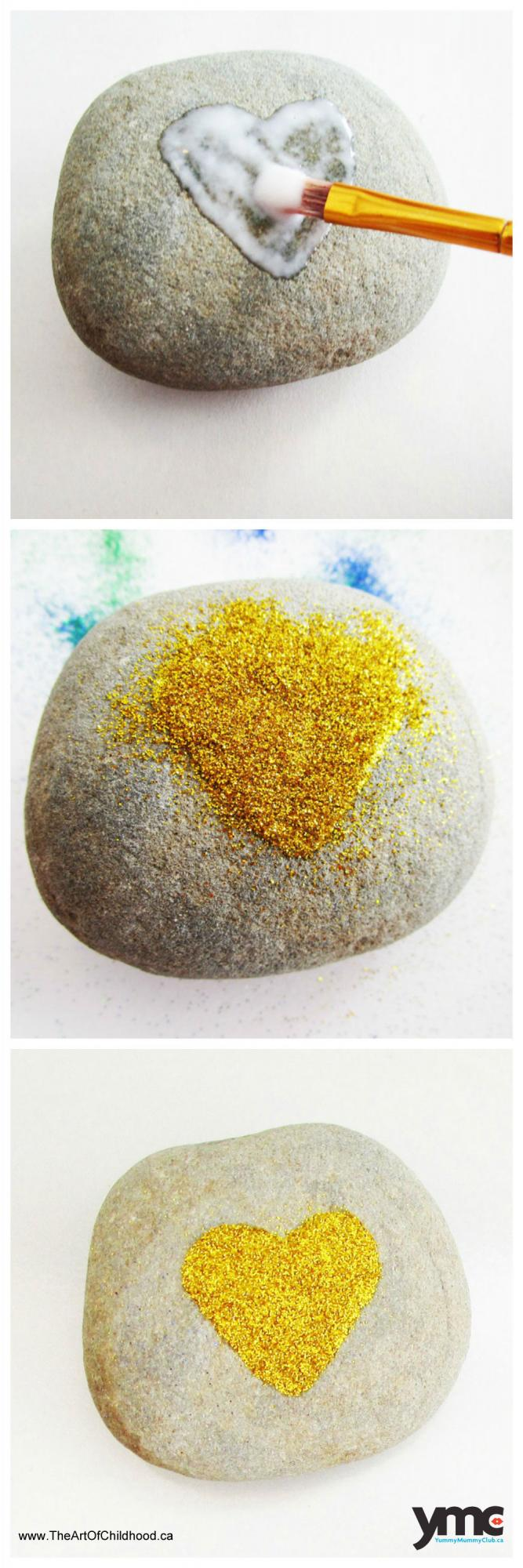 Paint a heart on a rock using glue, sprinkle it with glitter, shake off the glitter and voila.