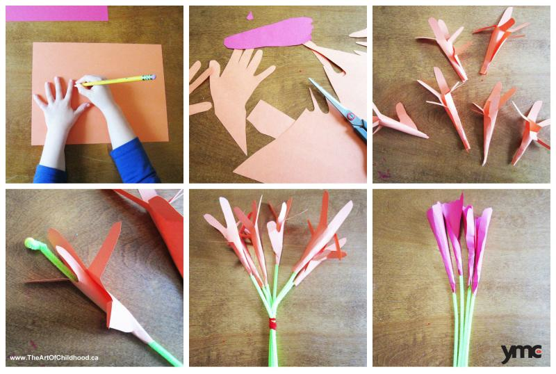 5 paper flowers crafts for mothers day that wont die cut flowers are beautiful until they arent so ask for these beautiful trace hands and feet on construction paper mightylinksfo