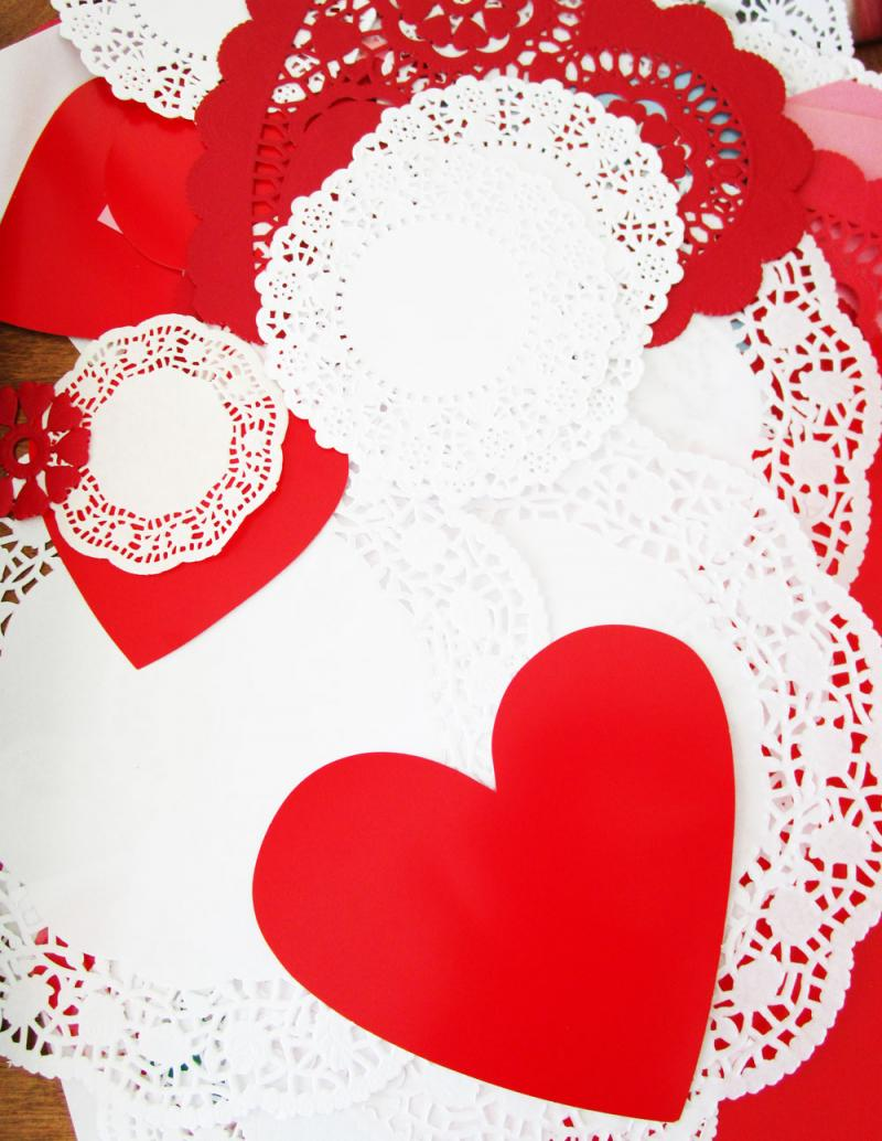 Doilies plus hearts equals Valentine's Day bliss!