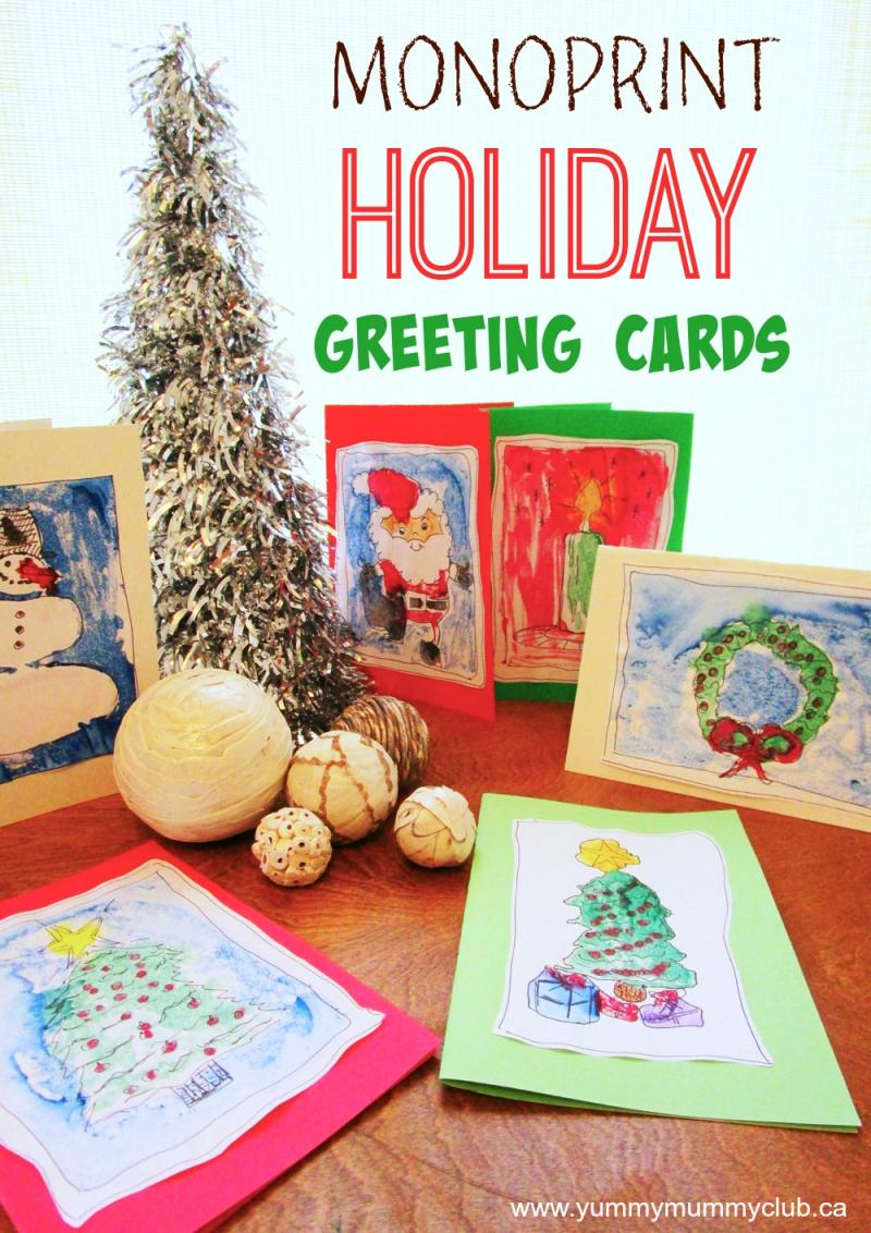 Handmade holiday greeting cards your kids can make yummymummyclub making handmade monoprint greeting cards is fun and easy for kids of all ages kristyandbryce Choice Image