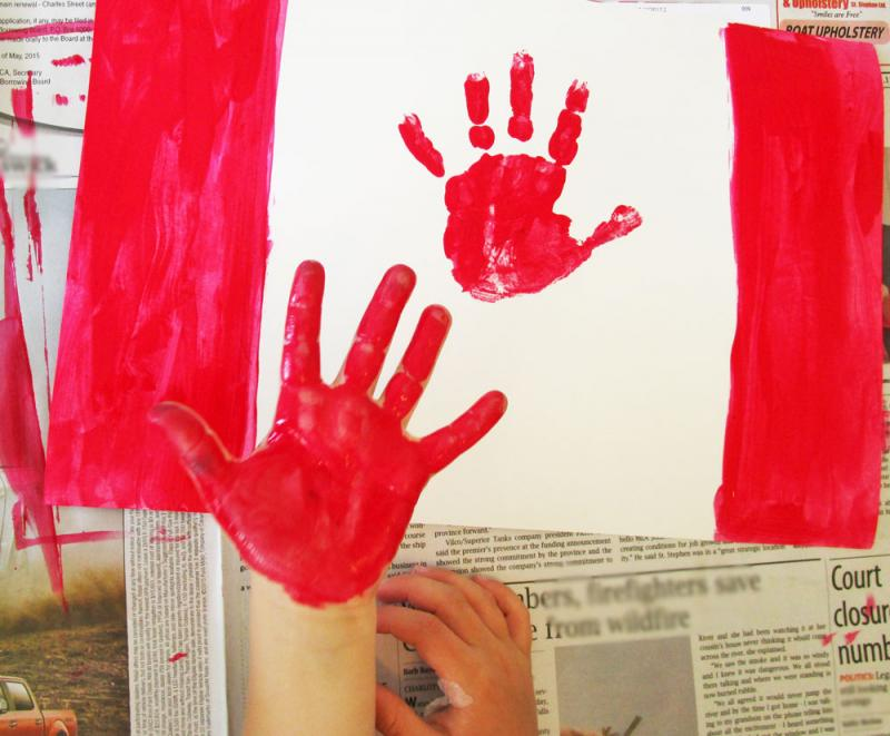 Place a handprint on the middle of the paper.