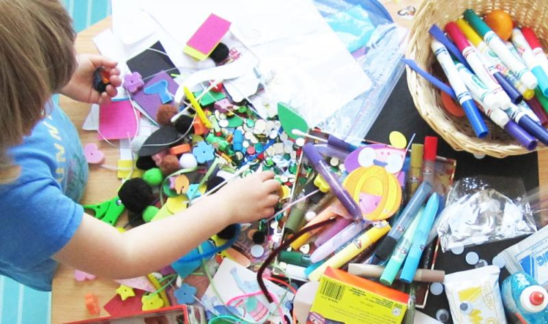 Provide your child with lots of art supplies.