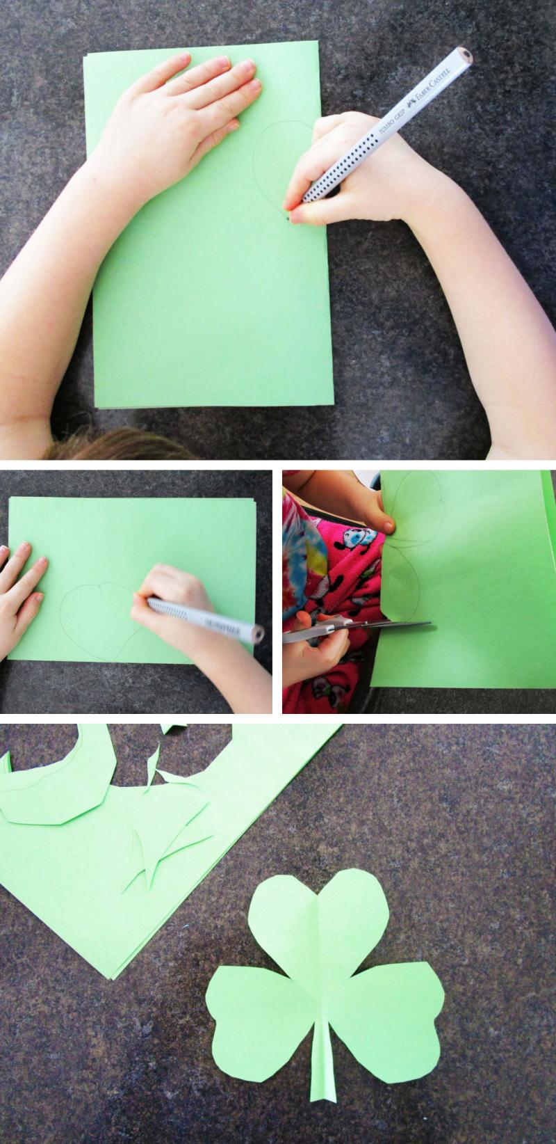 Kids of all ages can make these cute cut-out shamrocks.